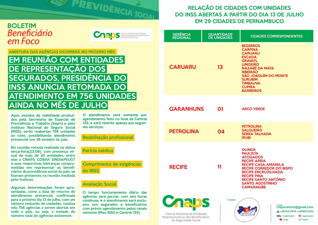 CNAPS divulga agências do INSS que serão reabertas em julho nos estados RS, MG, BA e PE